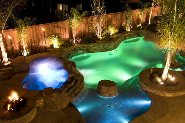 pool lighting and decor
