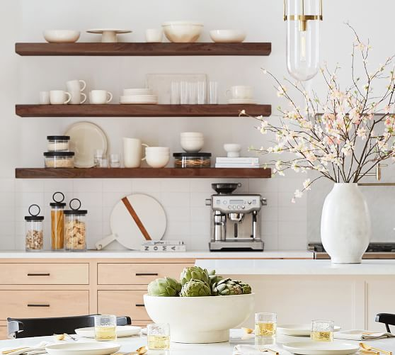 kitchens with shelves instead of upper cabinets