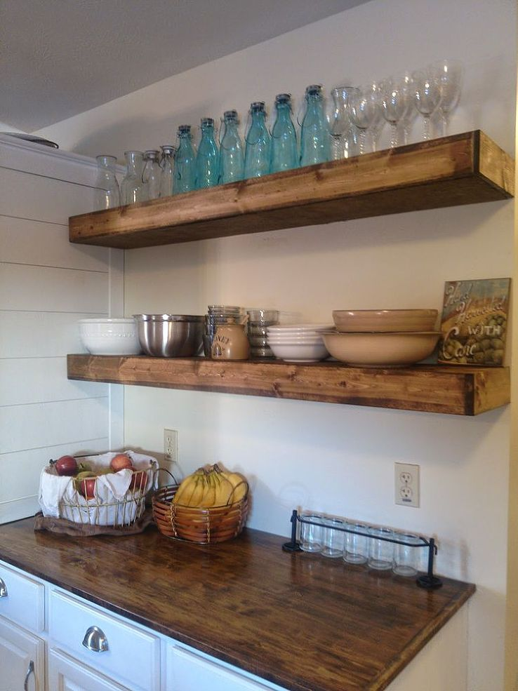 what to put on floating shelves in kitchen